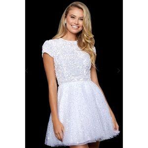 Sherri Hill, White Sequin Dress